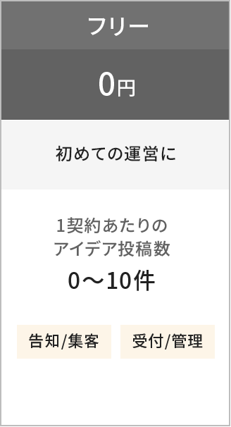 フリー0円(初めての運営に)
